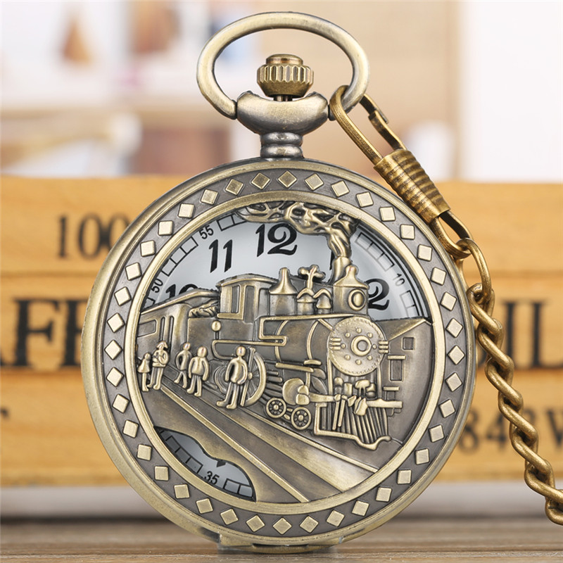 Vintage Pocket Watch Quartz To My Son Series Large White Dial FOB Watches Alloy Thin Link Chain Nurse Clock Reloj Bolsillo