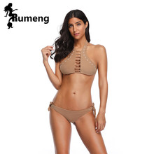 RUMENG Sexy Push Up Bikini 2019 Halter Hollow Out Swimwear Women Swimsuit Khaki Biquinis Beachwear Female Bathing Suit Sunbath