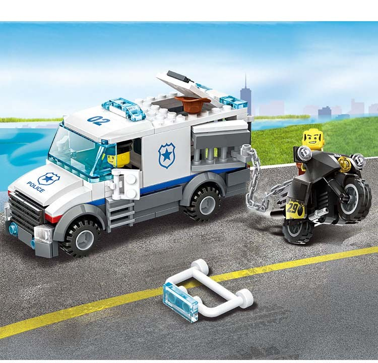Super Police 3in1 Prisoner transport vehicle motorcycle building block policeman action figure Compatible with legoe City toy