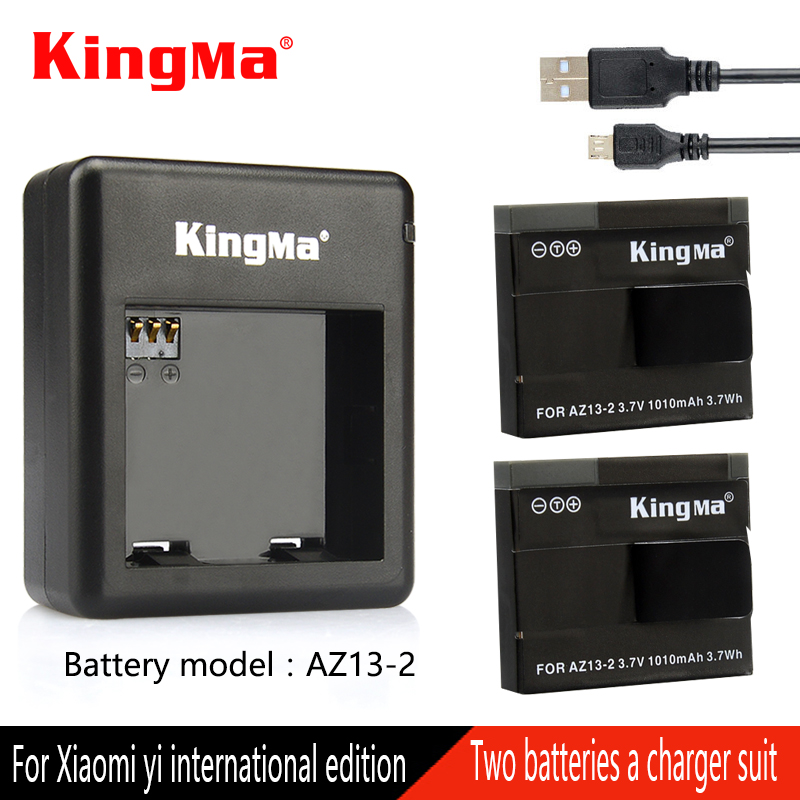 Original Kingma For Xiaomi Yi Battery with Charger For xiaomi yi Action Camera AZ13-2 Battery Xiaomi Yi international
