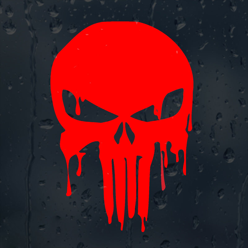 10.1CMX15CM Bloody Punisher Skull Personalized Car Stickers Vinyl Decorative Decals Red/Black/Silver C1-5007