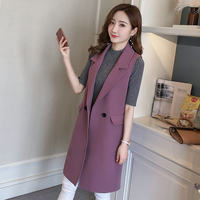 New Spring Autumn Elegant Women Vest BF Long Vest Coat Chaleco Mujer Sleeveless Waistcoat Office Blazer Vest Jacket Female C5174