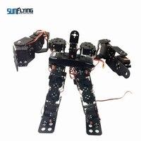17DOF Biped Robotic Educational Robot Humanoid Robot Kit Servo Bracket Ball Bearing Black Free Send Source Code for DIY RC Model