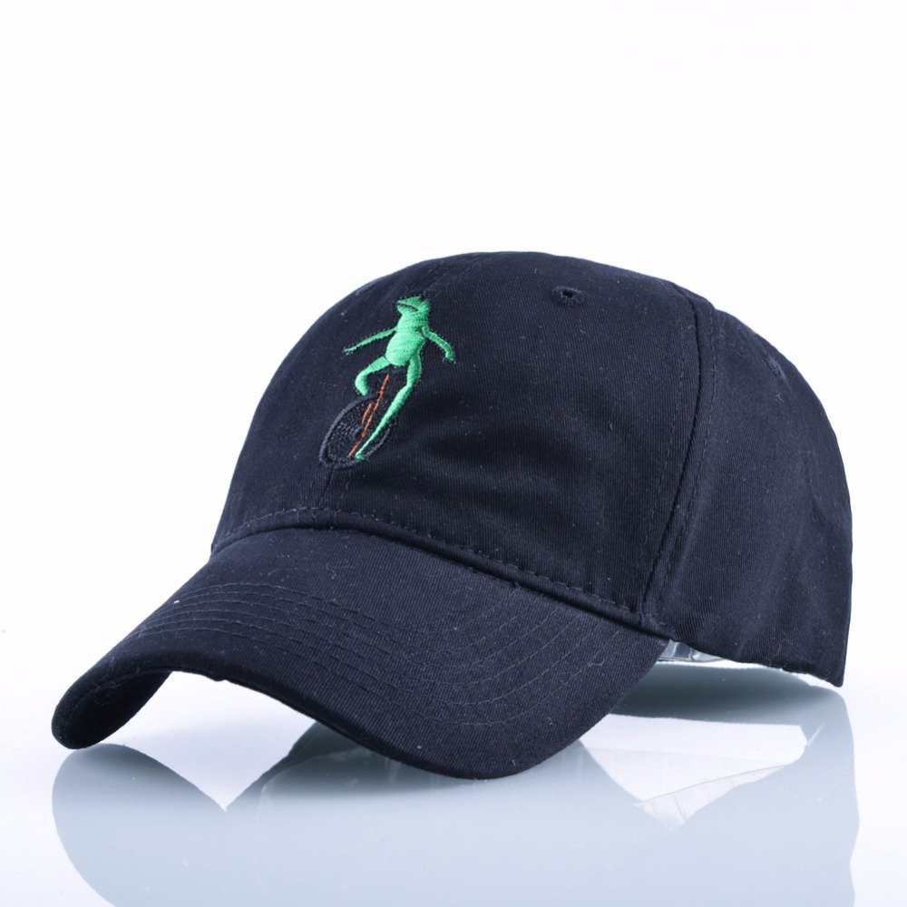 New Embroidery Wheelbarrow Frog Dad Snapback Baseball Cap Curved Bill Green Frog Pepe Fitted Hats Meme Frog Visor Hat Gorras new cherry fruits embroidered snapback baseball cap dad hats man