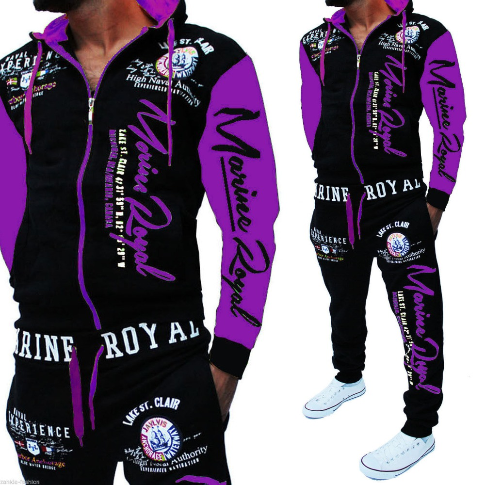 Image 2 - Men Track Suit Hooded Jacket Sportswear Mens Sports Suits brand New Sportwear Men Jogger Set Printed Tracksuit Men Clothes 2018-in Men's Sets from Men's Clothing