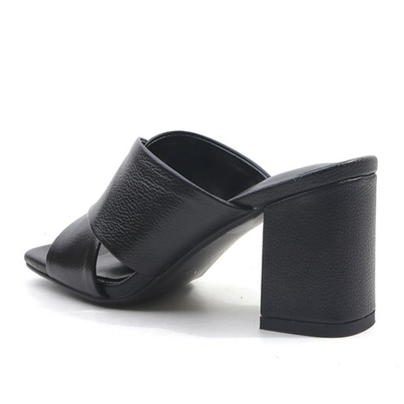 Punta Beige Tacón Zapatos Tamaño Gruesos Alto Cuero Concisa Mujeres Sandalias negro Del Kemekiss 33 Verano Real Abierta 43 Las Deslizamiento En De amarillo Calzado vp1WO