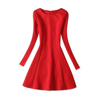 New 2017 Spring Autumn XXXL 4XL Dress Women Casual Solid Black Red Pleated Sexy Dresses Fashion