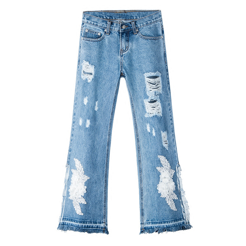 Summer Spring Fashion Women Embroidery High Waisted Ripped Hole Tassel Flare Jeans Pants , Woman Placket Flower Denim Trousers