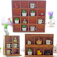 Wooden Display Cabinet Traditional Chinese Showcase Cabinet Wall Handing Storage Box Creative Home Office Decoration
