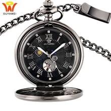 Heren Mechanische Pocket Horloges Zon Maan Fase Ketting Fob Horloges Ketting Pocket Klok Skeleton Liefde Hanger Horloge Cadeau voor man
