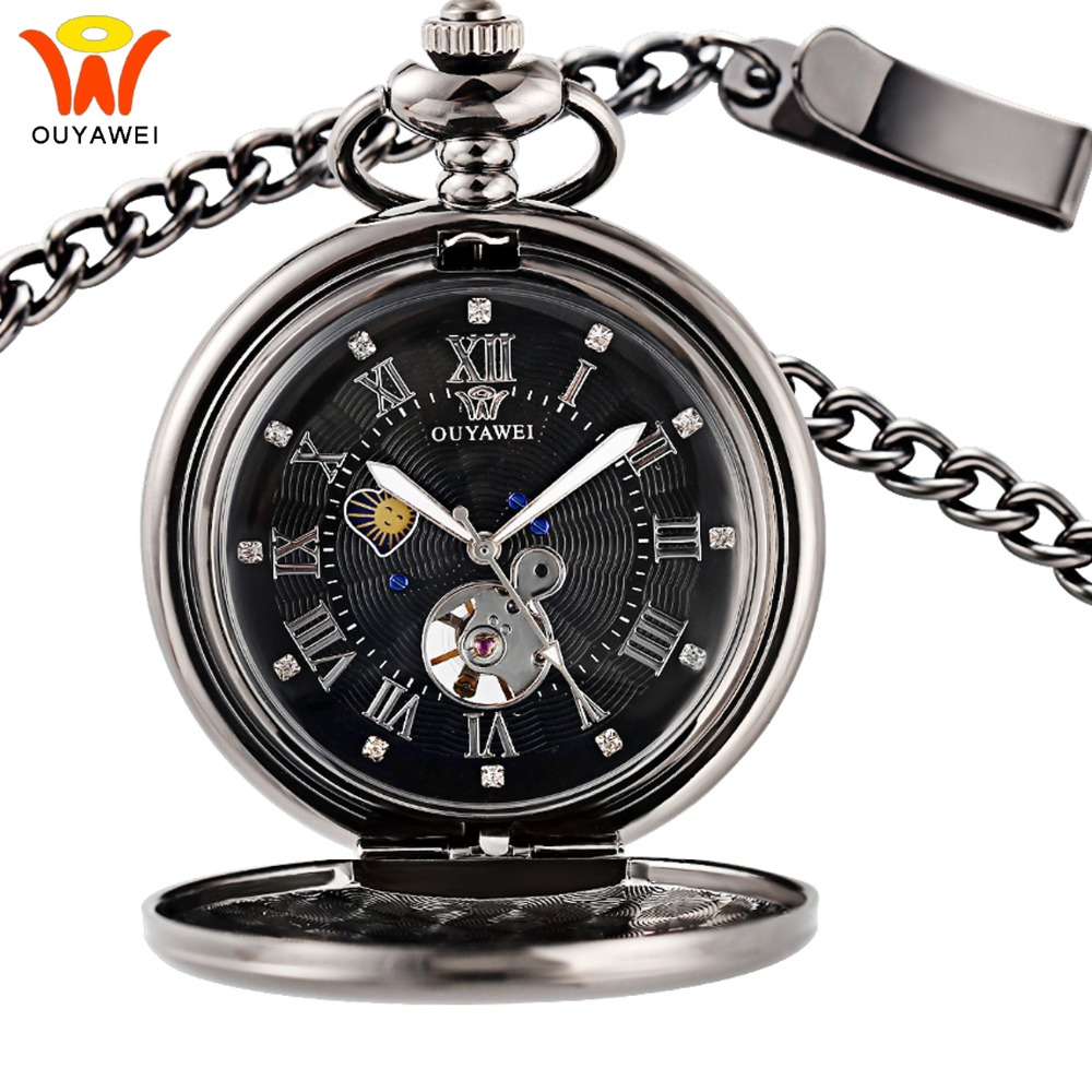 Men's Mechanical Pocket Watches Sun Moon Phase Necklace Fob Watches Chain Pocket Clock Skeleton Love Pendant Watch Gift for Man стоимость
