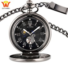 Mens Mechanical Pocket Watches Sun Moon Phase Necklace Fob Watches Chain Pocket Clock Skeleton Love Pendant Watch Gift for Man