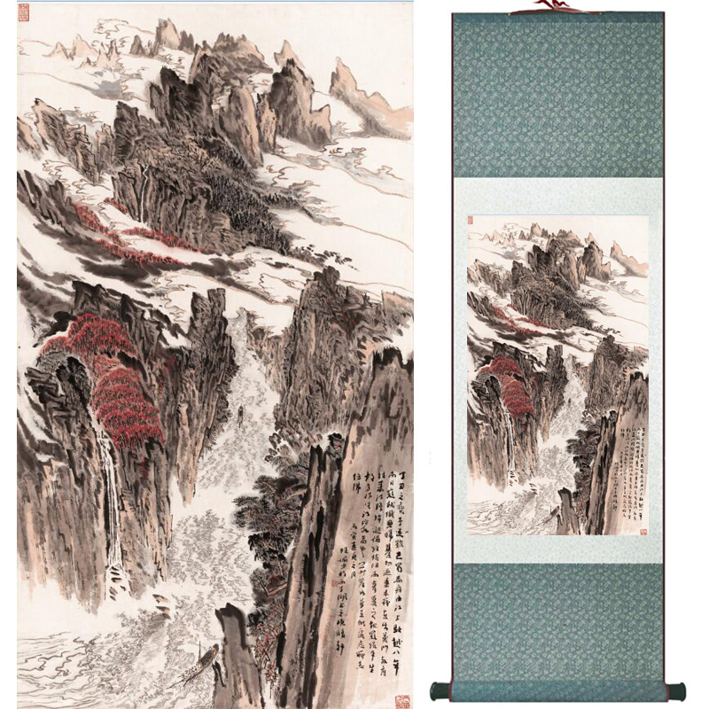 landscape painting Home Office Decoration Chinese scroll painting mountain and River paintingPrinted painting060510