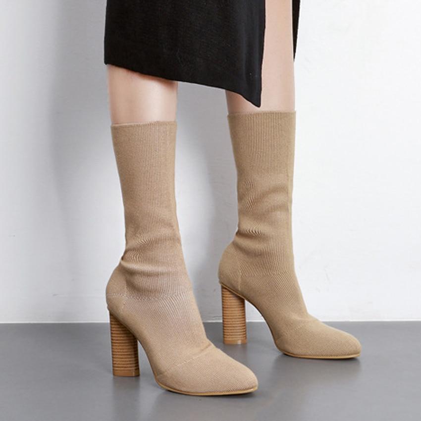 Niufuni moda feminina botas de tricô apontou toe estiramento meias botas grossas salto alto tornozelo botas mujer bege preto mulher sapatos