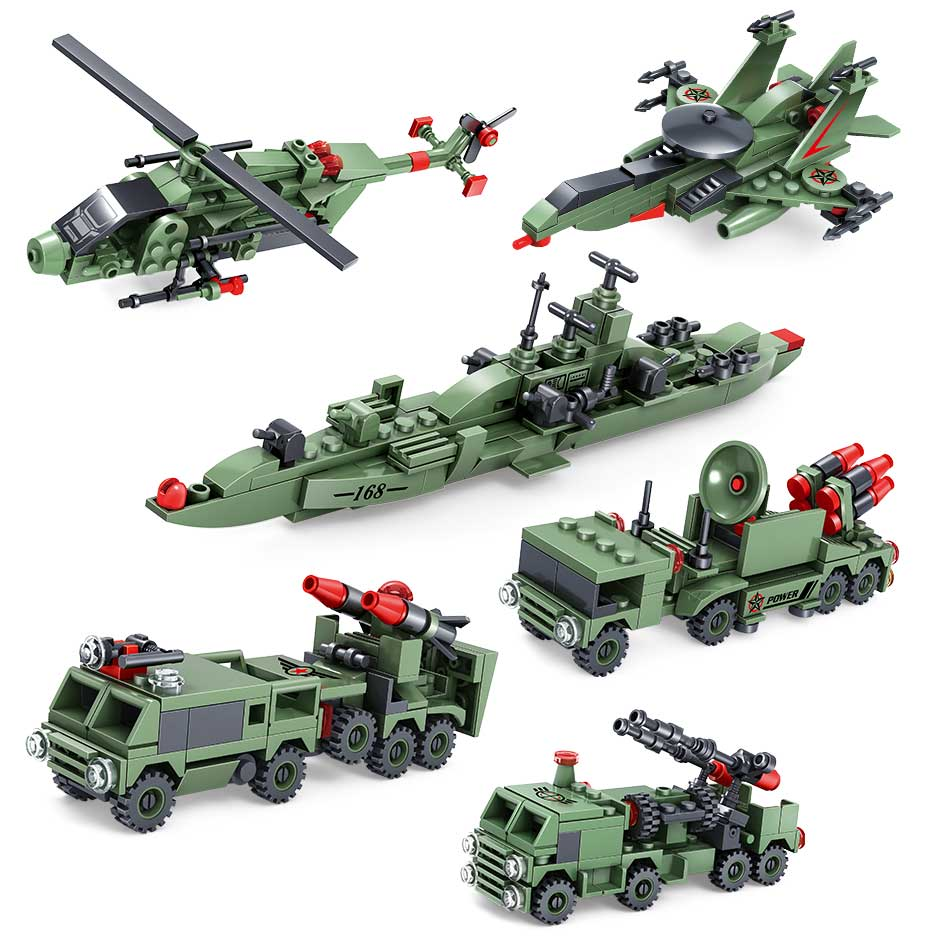 6pcs Military Army Weapon Car Tank Building Blocks Compatible Legoed City Helicopter Brick Vehicle Car Toys for Children Boy