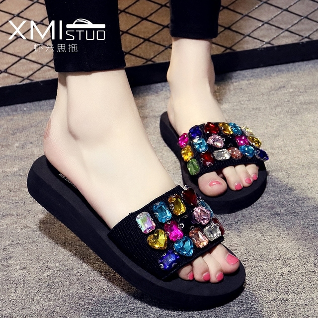 4d48e091b European American Colorful Rhinestone Sandals Women Summer Flip Flops  Casual Flat Slippers Big Size 33-42 Ladies Girls Sandals