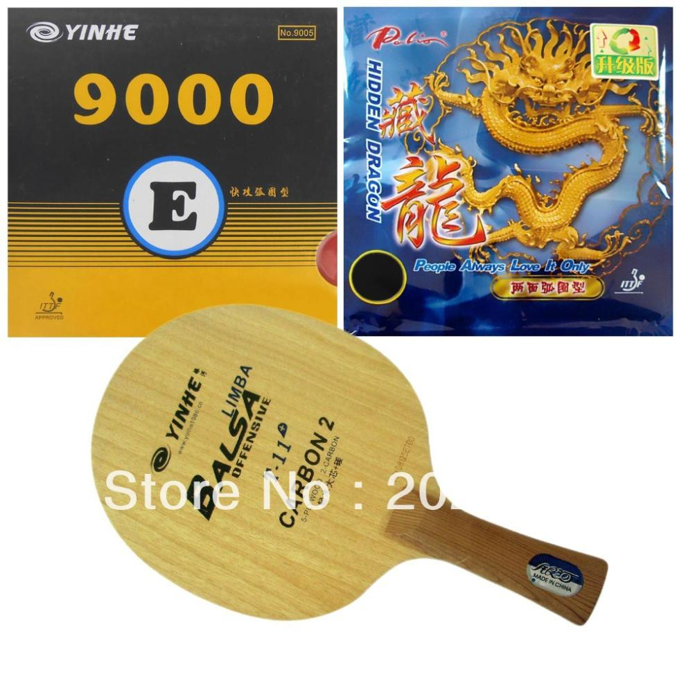 Pro Table Tennis PingPong Combo Racket Galaxy YINHE T-11+ With 9000E And Palio Hidden Dragon Long Shakehand FL