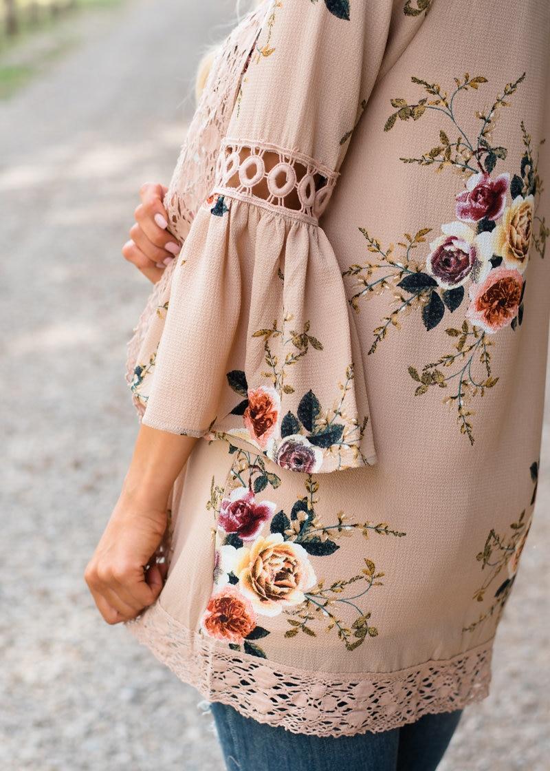 HTB13Ky2k8jTBKNjSZFNq6ysFXXag Women Plus Size Loose Casual Basic Jackets Female 2018 Autumn Long Flare Sleeve Floral Print Outwear Coat Open Stitch Clothing