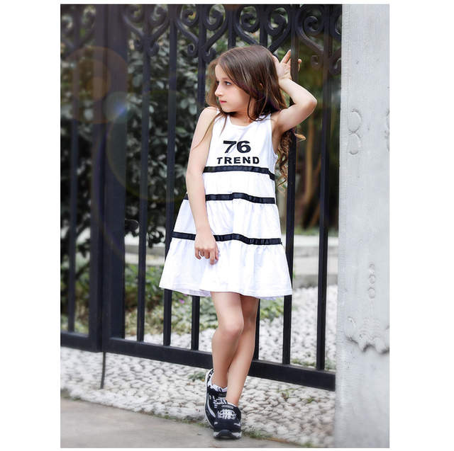 2017 Latest Fashion Dress For Girls Cotton Frock Design Letter Printed  Stripe For Age 4 5 921b18f485a2