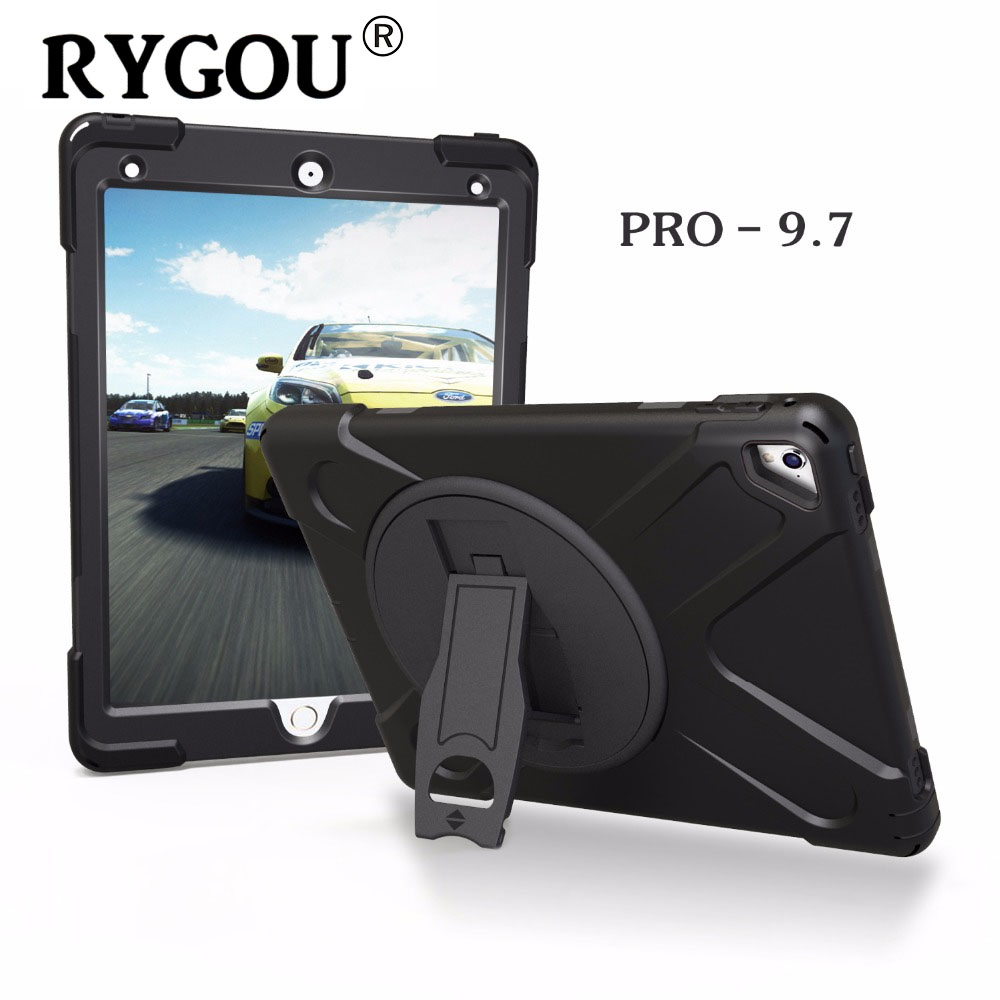 RYGOU Full Body Protective Case For iPad Pro 9.7 inch 2016 release,Impact Resistant Hybrid Heavy Duty Armor Defender Cover case for apple ipad pro plus 12 9 tablet heavy duty rugged impact hybrid case kickstand protective cover for ipad pro 12 9