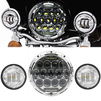 7Round LED Headlight White DRL& 4 1/2Fog Passing Lights For Harley Road King Softail Deluxe Heritage Fat Boy 7housing Bracket