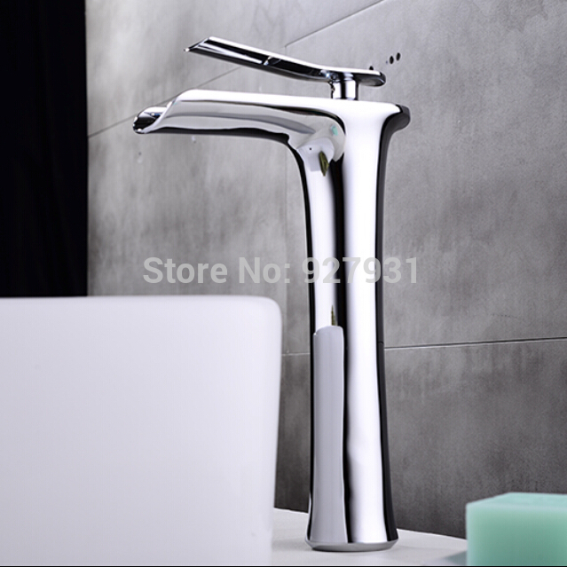 Quality Chrome Brass Waterfall Hot and Cold Basin Faucet Deck Mounted Single Handle