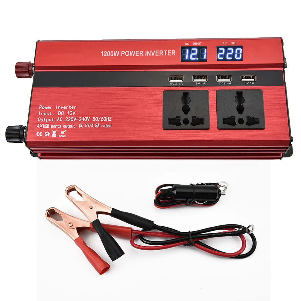 Peak Power 1200W Modified Sine Wave Inverter Converter DC 12V/24V to AC 220V Car Inverter LED Display/USB Port/Universal Plug digital display 6000w peak 3000w pure sine wave power inverter converter 12v dc to 220v 230v 240v ac