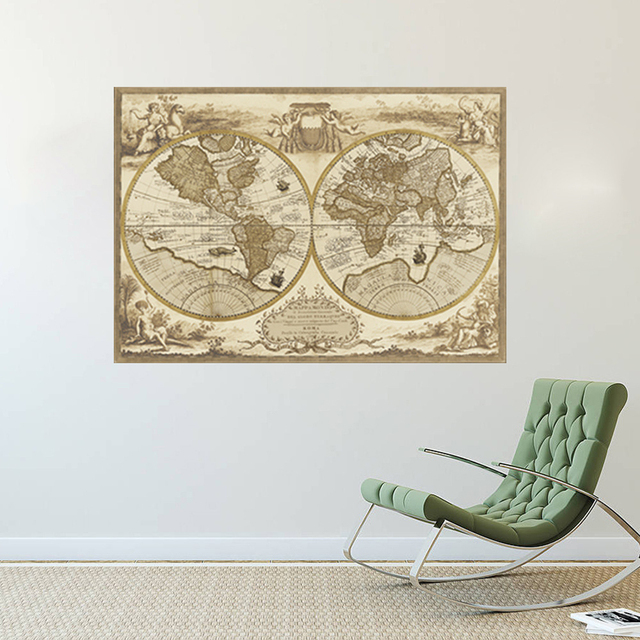 Wall sticker retro world map vintage nautical map removable wall wall sticker retro world map vintage nautical map removable wall decal antique home decor for bedroom gumiabroncs Images