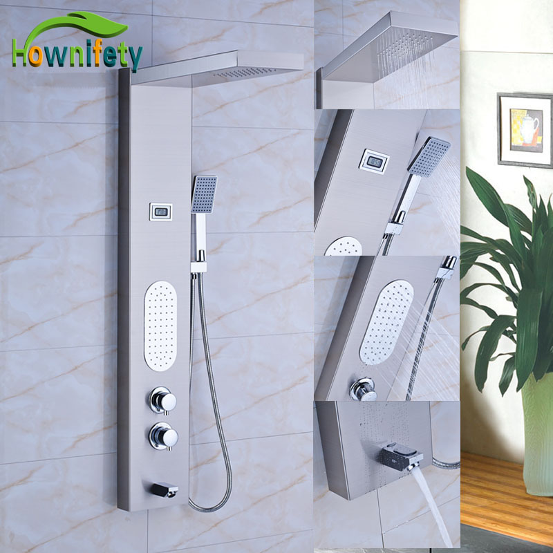 Brushed Nickel Thermostatic Shower Panel Bathroom Tub Faucet Double Handles with Chrome Hand Shower china sanitary ware chrome wall mount thermostatic water tap water saver thermostatic shower faucet