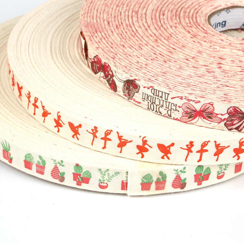 """5 חצר/הרבה """"בעבודת יד"""" מודפס עיצוב כותנה סרט מסיבת חתונת קישוט מתנת גלישת חג המולד סרט DIY תפירה בד"""