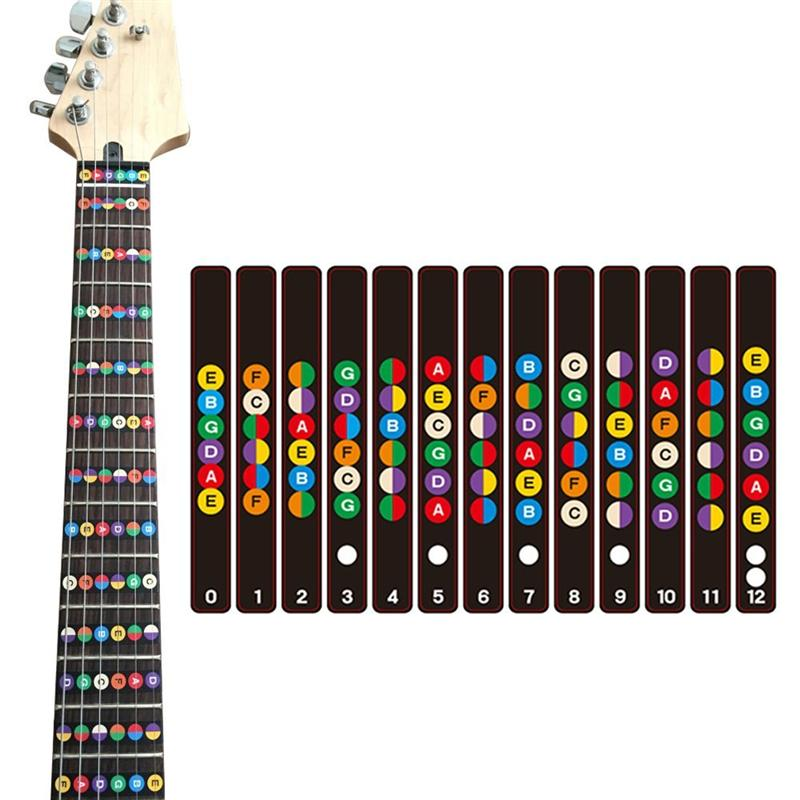 Guitar Fretboard Note Decals Fingerboard Sticker Fret guide Label Finger Chart Practice Fit Violin Finger Guide Acoustic Guitar