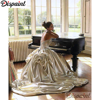 Dispaint Full Square/Round Drill 5D DIY Diamond Painting Woman piano Embroidery Cross Stitch 3D Home Decor A10405 dispaint full square round drill 5d diy diamond painting mandala scenery 3d embroidery cross stitch 5d home decor a10820