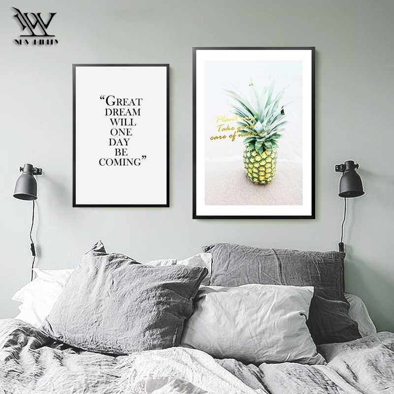 Ananas Decoration Nodic Spring Flower Posters Kitchen Print Pictures Living  room Paintings Bedroom Canvas Wall Art Poster