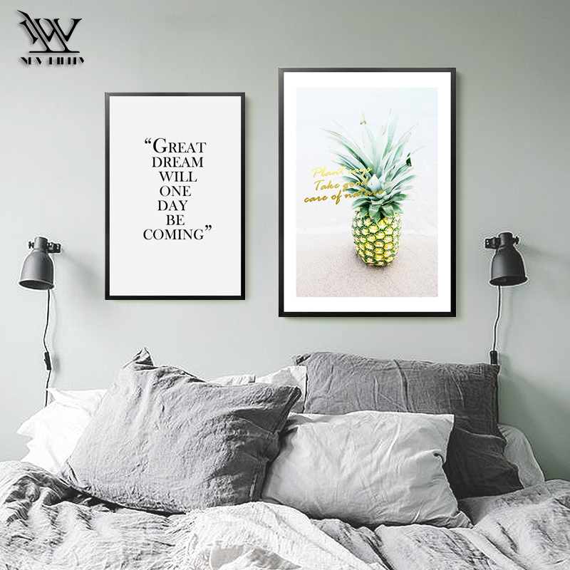 US $3.08 61% OFF|Ananas Decoration Nodic Spring Flower Posters Kitchen  Print Pictures Living room Paintings Bedroom Canvas Wall Art Poster-in  Painting ...