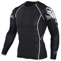 2016 New Gym Fitness T Shirt 3D Print Long Sleeve Sport Running T Shirt Men Bodybuilding