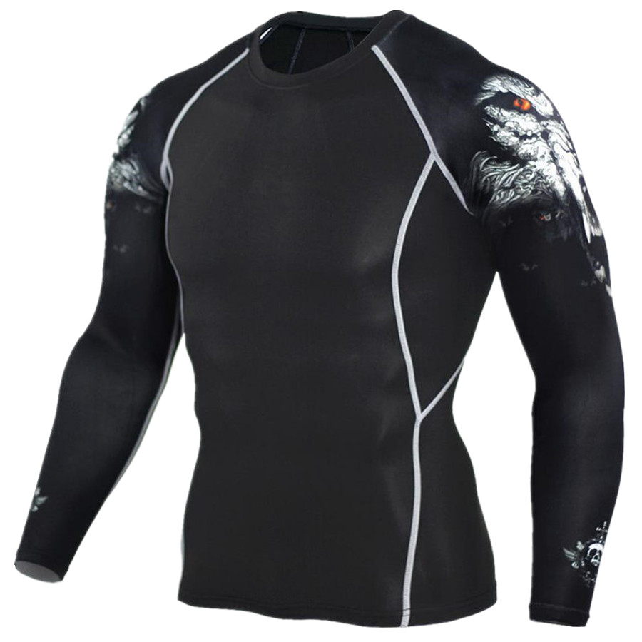 2017 Man MMA Fitness T-shirt Fashion 3D Tonåring Wolf Long Sleeve Compression Shirt Bodybuilding Crossfit Brand Clothing Fitness