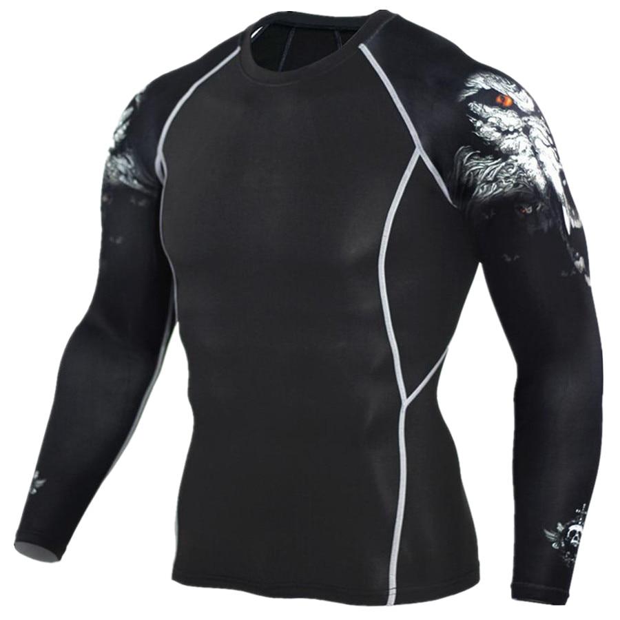 2017 herren MMA Fitness T-shirts Mode 3D Teen Wolf Langarm Shirt Kompression Bodybuilding Crossfit Marke Kleidung Fitness