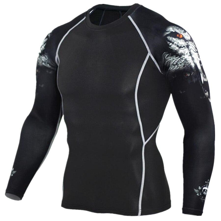 2017 mens MMA aptitud Camisas moda 3D Lobo adolescente manga compresión camisa bodybuilding CrossFit Marca Ropa