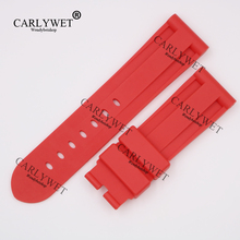CARLYWET 24mm Wholesale Newest Red Waterproof Silicone Rubber Replacement Wrist Watch Band Strap Belt for 44mm-47mm