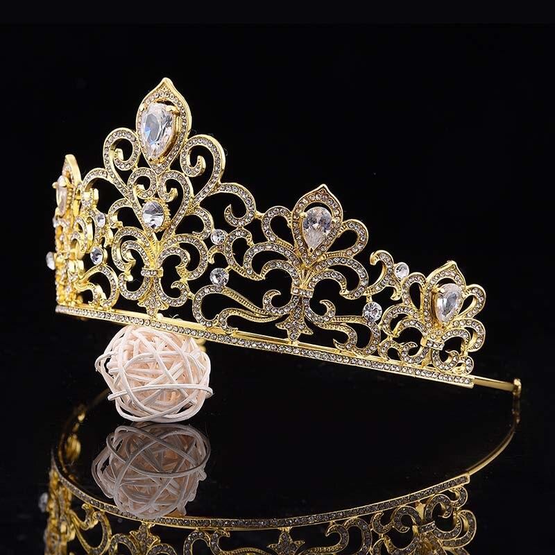 Women Fashion Alloy Rhinestones Crystal Queen Bride Big Tiara Crown Wedding Bridal Coronal Headpiece Hair Jewelry Accessories JL