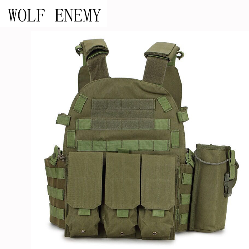 Military Tactical Vest Wargame Body Molle Hunting Vest CS Outdoor Men's Vest with Hydration Pocket Holder Camouflage Waistcoat