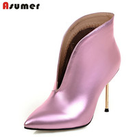 Just Arrive 2016 Autumn Spring Women Fashion Boots Slip On Pu Nubuck Leather Pointed Toe Thin