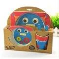 Louça crianças De fibra de Bambu do bebê/crianças conjuntos de talheres 100% prato de jantar verde/tigela/copo/colher/garfo conjunto de alimentação do bebê