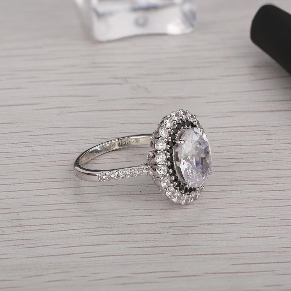 DYINGLUO 925 argent Sterling taille ovale cubique zircone noir Halo anneau de mariage promesse anneau cadeau argent bague de fiançailles pour les femmes - 2
