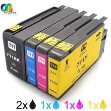 5pk para hp 711 hi-capacidad de cartuchos de tinta de impresora hp711 designjet t120 t520 compatible para hp t120 t520