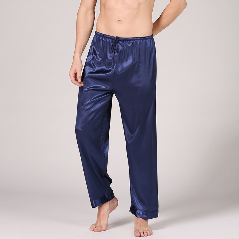 Men's Solid Color Silk Pajama Pants Long Simulation Silk Pants Casual Home Clothes See Through Silk Underwear Men Men Sleepwear
