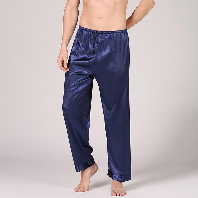 Men's Solid Color Silk Pajama Pants Long Simulation Silk Pants Casual Home Clothes See Through Silk Underwear Men Men Sleepwear