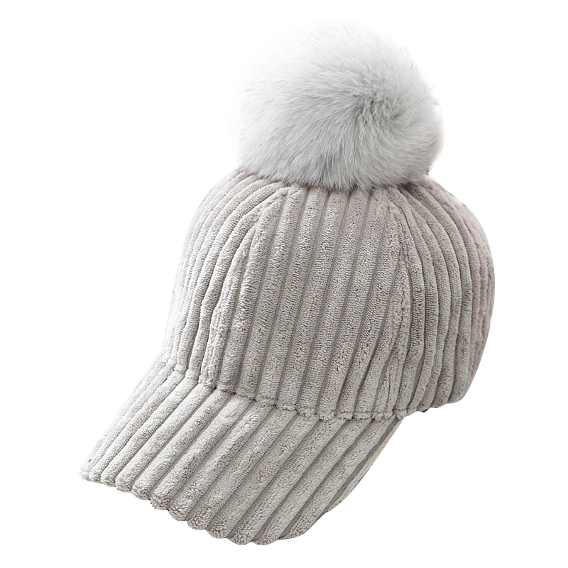 52e75e8c002 ... Real Fur Pompom Winter Hats For Women and men Stripe Suede Baseball Cap  With The fox ...