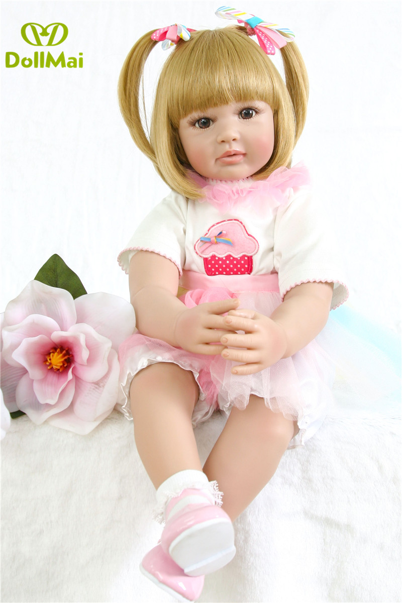 60cm Silicone Vinyl Reborn Baby Doll Toys Lifelike  Baby adorable Girls Toddler Time Doll child Birthday Gift  Bebes reborn60cm Silicone Vinyl Reborn Baby Doll Toys Lifelike  Baby adorable Girls Toddler Time Doll child Birthday Gift  Bebes reborn