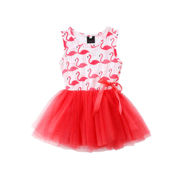 855c2c69ae9 2018 Dresses For Girls Sleeveless Party Dress Flamingo Print Red Dress  Brand Costume For Girls Clothing